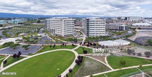 aerial: flying over juniper headquarters in santa clara, silicon valley - palo alto stock pictures, royalty-free photos & images