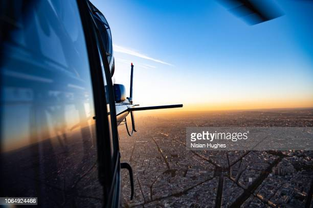 Aerial flying over Paris France in helicopter