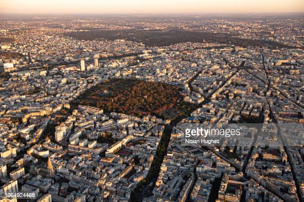 aerial flying over paris france looking at pere lachaise cemetery - ile de france stock pictures, royalty-free photos & images