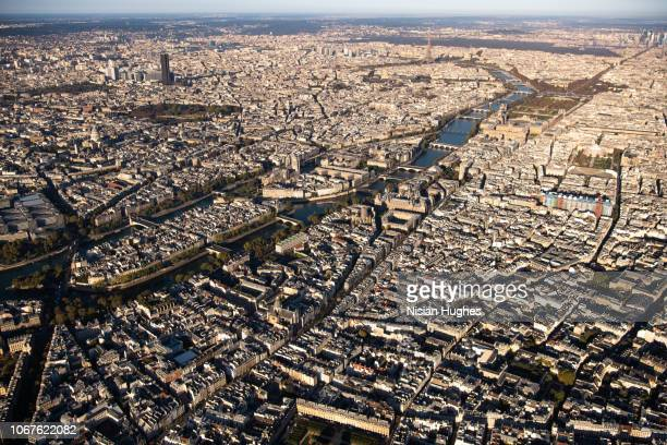 aerial flying over paris france, wide shot morning - centre pompidou stock pictures, royalty-free photos & images