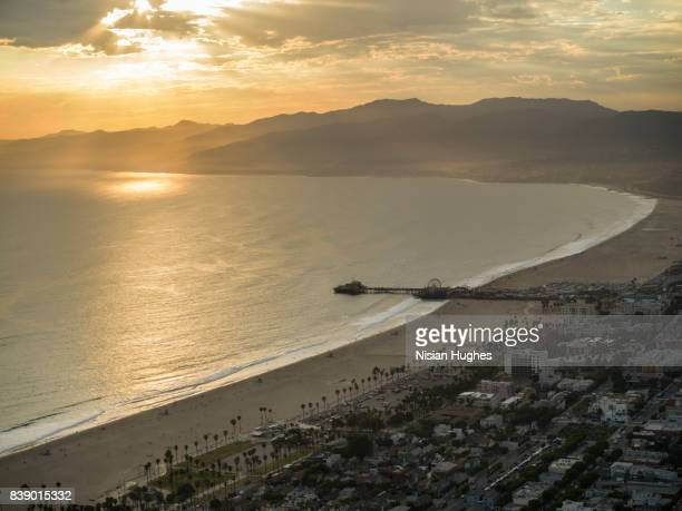 Aerial flying over Santa Monica Los Angeles, CA sunset