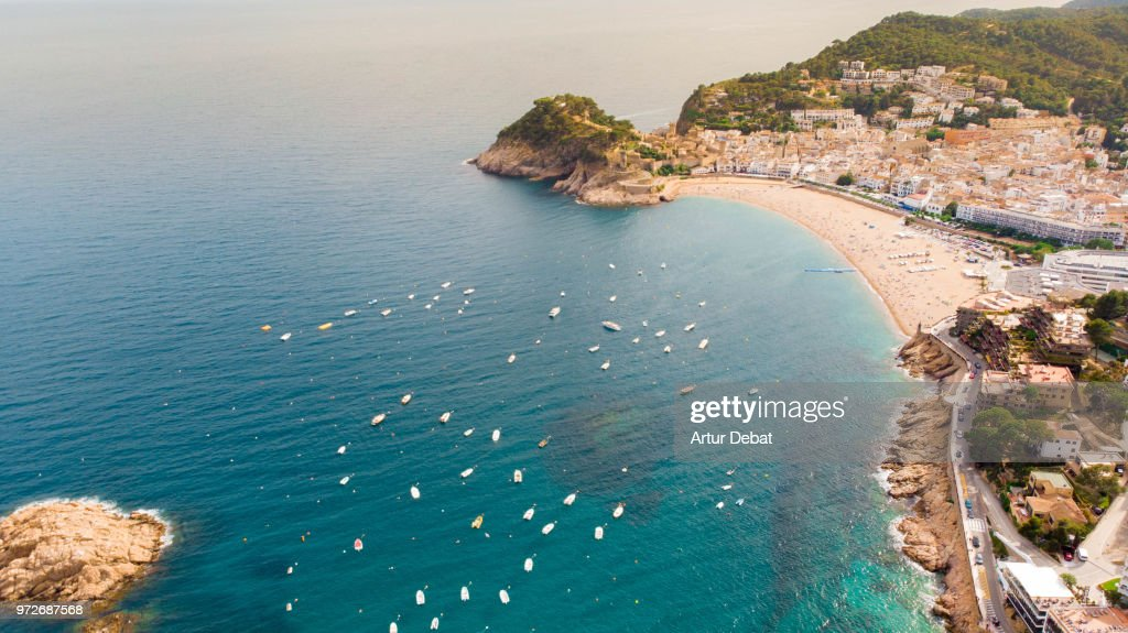 Aerial footage recorded with drone of the Costa Brava shoreline. : Stock Photo