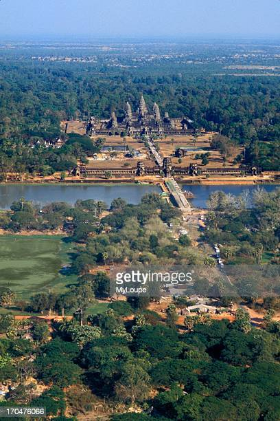 Aerial from Balloon of World's Largest Temple Angkor Wat Siem Reap Cambodia