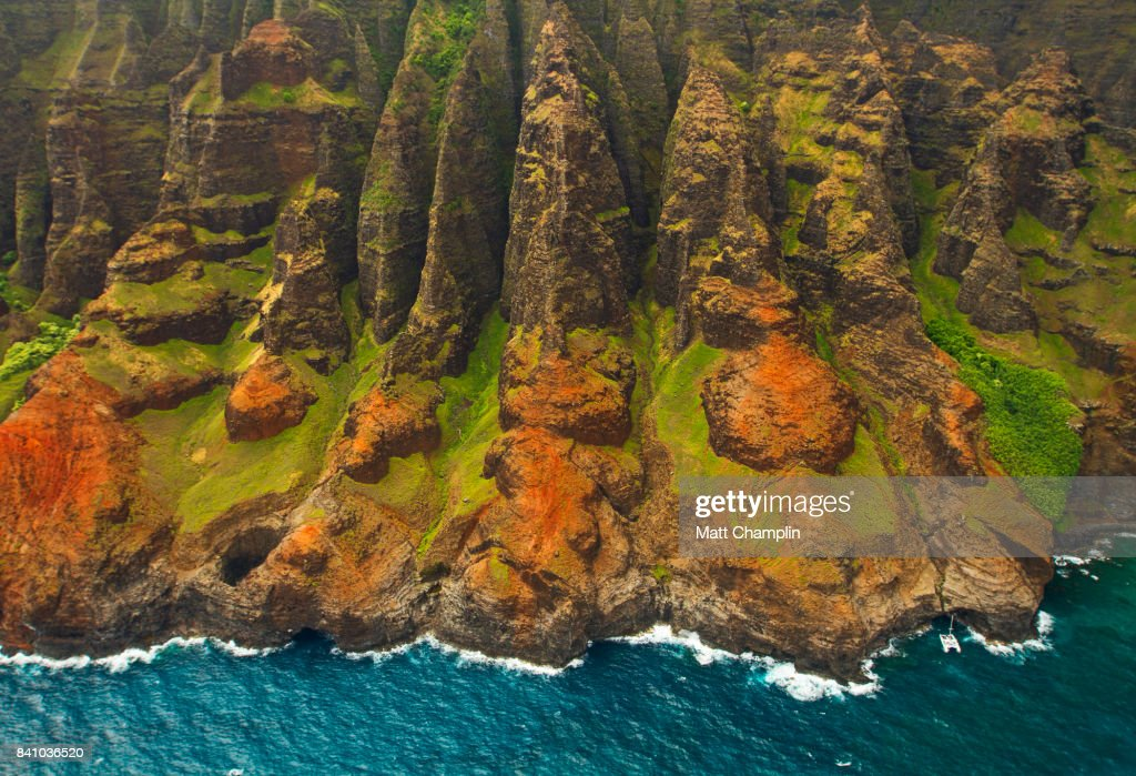 Aerial from Helicopter of Na Pali Coast on Kauai : Stock Photo