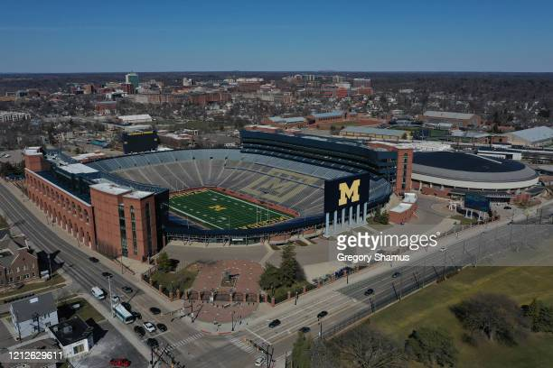 Aerial general view from a drone of of Michigan Stadium and Crisler Center on March 15, 2020 in Ann Arbor, Michigan.