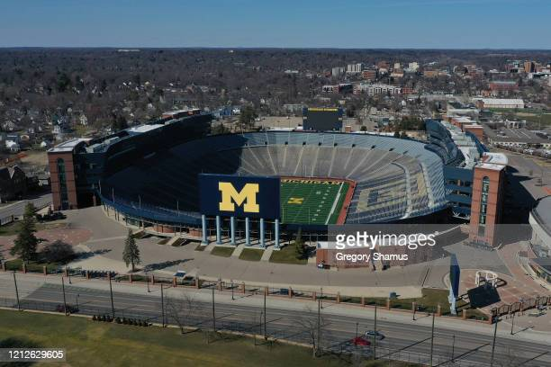 Aerial general view from a drone of of Michigan Stadium on March 15, 2020 in Ann Arbor, Michigan.