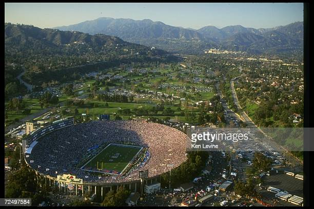 Aerial general view of Super Bowl XXVII between the Buffalo Bills and the Dallas Cowboys on January 31 1993 at the Rose Bowl in Pasadena California...
