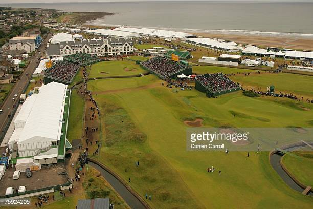 Aerial general view of the 18th hole including the green and hotel during the third round of the 136th Open Championship in Carnoustie Scotland at...