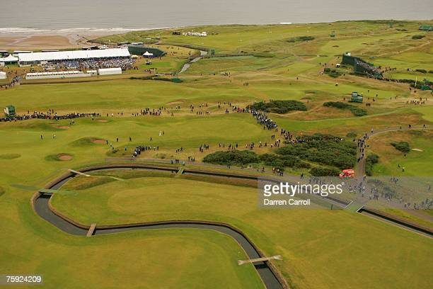 Aerial general view of the Barry Burn in the fairway of the 18th hole during the third round of the 136th Open Championship in Carnoustie Scotland at...