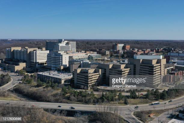Aerial general view of the University of Michigan Medical Center on March 15, 2020 in Ann Arbor, Michigan. Michigan Gov. Gretchen Whitmer has...