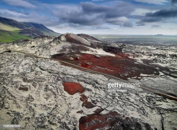 aerial - gullborgarhraun lava field, snaefellsnes peninsula, western, iceland. - lava plain stock pictures, royalty-free photos & images