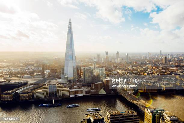 Aerial helicopter view of London with The Shard building, London, England, UK