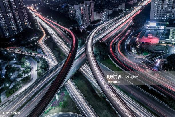 aerial highway junction - shenzhen stock pictures, royalty-free photos & images