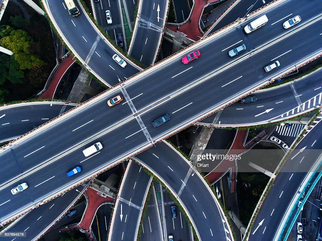 Aerial highway junction : Stock Photo