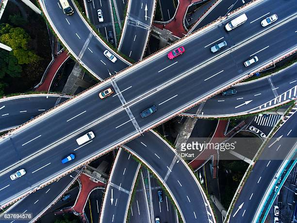 aerial highway junction - aerial view stock-fotos und bilder