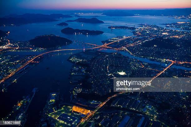 Aerial Hiroshima evening