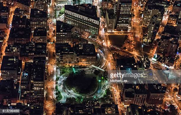 aerial holland tunnel at night - new york - canal street manhattan stock pictures, royalty-free photos & images