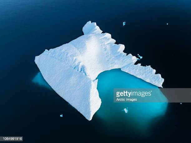 Aerial - Iceberg by the town of Narsaq, South Greenland