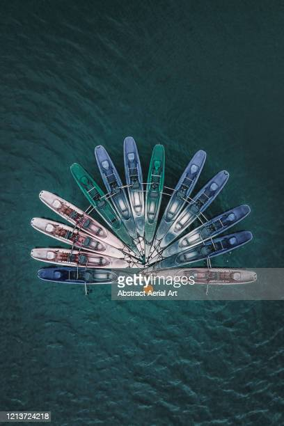 aerial image above kayaks moored in a reservoir, france - nautical vessel stock pictures, royalty-free photos & images