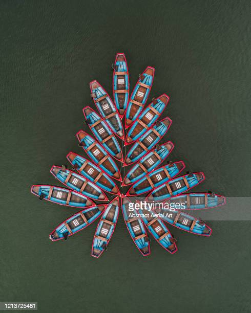 aerial image above leisure boats moored in a lake, paris, france - symmetry stock pictures, royalty-free photos & images