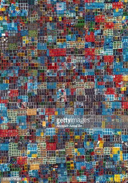 aerial image directly above a large group of colourful drinks pallets, germany - photo mosaic stock pictures, royalty-free photos & images