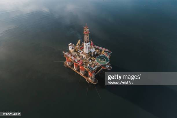 aerial image of an offshore drilling platform, cromarty firth, scotland, united kingdom - gas stock pictures, royalty-free photos & images
