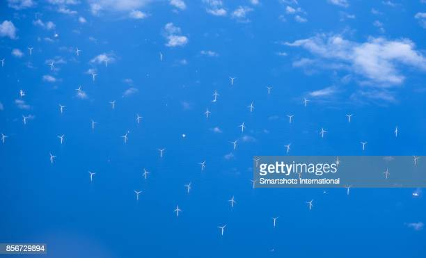 Aerial image of an offshore wind farm in the North Sea, Europe