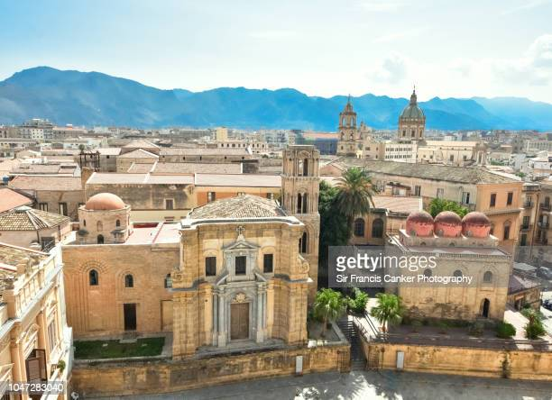 aerial image of bellini square with la martorana church on the left and san cataldo church on the right, both with typical byzantine domes in palermo, sicily, italy - byzantine stock photos and pictures