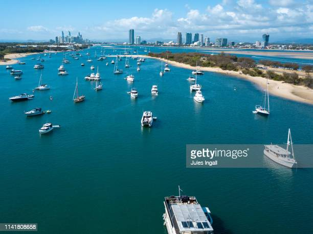 aerial image of boats on the water on the gold coast - gold coast queensland stock pictures, royalty-free photos & images