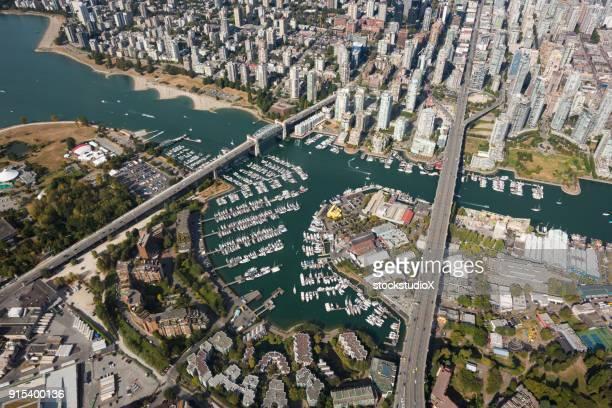 Imagen aérea del centro de Vancouver, Canadá