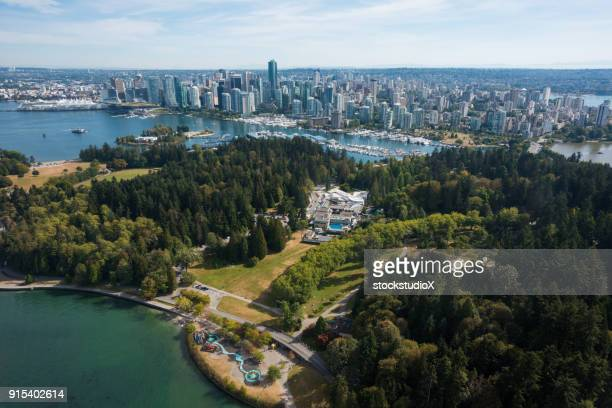 aerial image of downtown vancouver, canada - vancouver canada stock pictures, royalty-free photos & images