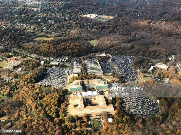 Aerial image of George Bush Center for Intelligence, the headquarters of the Central Intelligence Agency , located in Langley in Virginia, United...