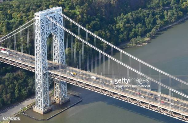 Aerial image of George Washington Bridge spanning over the Hudson river, USA