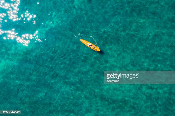 aerial image of kayak in lake tahoe in california - nautical vessel stock pictures, royalty-free photos & images