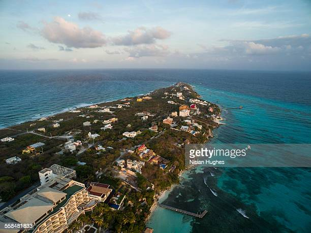 aerial image of mexican island - isla mujeres stock pictures, royalty-free photos & images
