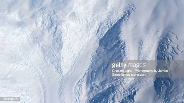 Aerial image of several glaciers meeting in Antarctica