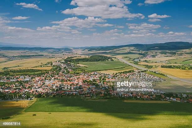 aerial image of slovakia landscape, spisske podhradie village - kosice stock photos and pictures
