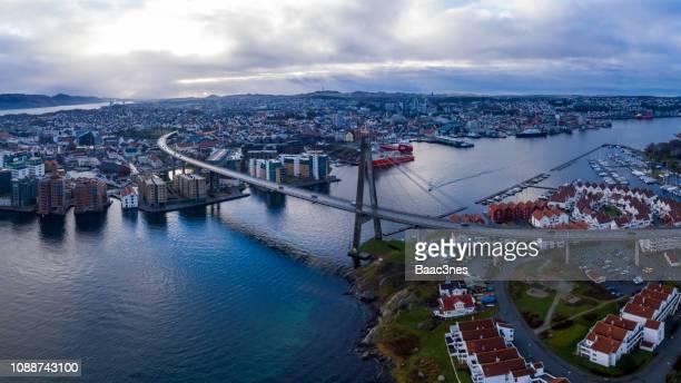 aerial image of stavanger city and the island grashomen - スタバンゲル ストックフォトと画像