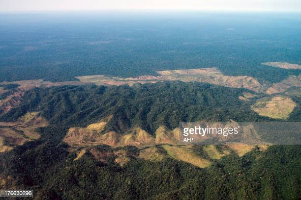 Aerial image of the deforestation next to Indio's reservation area in Para state northern Brazil on August 9 2013 AFP PHOTO / YASUYOSHI CHIBA / AFP...