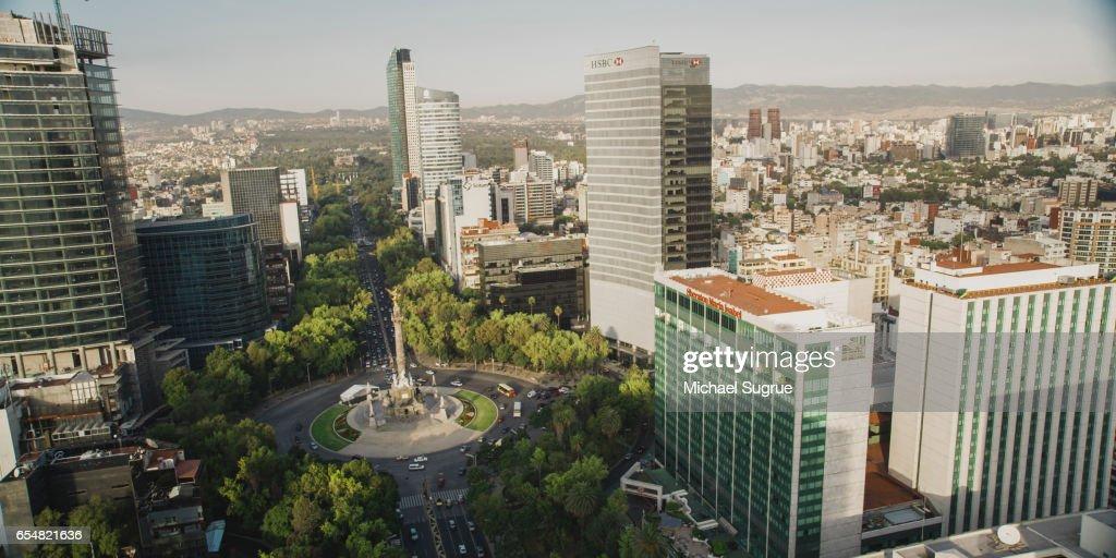 Aerial image of the Paseo de la Reforma in Mexico City, Mexico. : Stock Photo