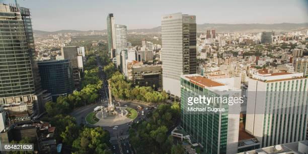 Aerial image of the Paseo de la Reforma in Mexico City, Mexico.