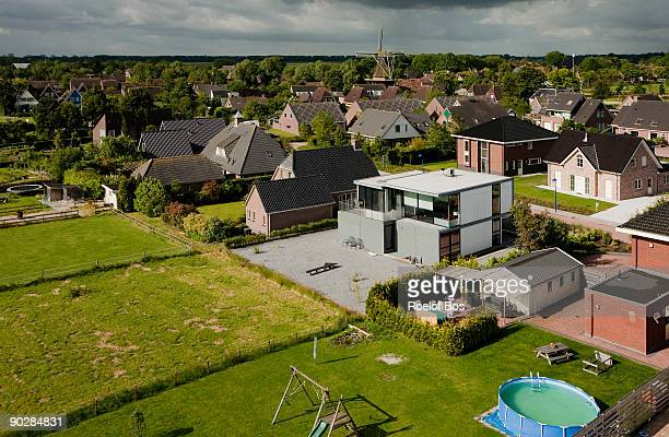 Aerial image of the village Adorp, the Netherlands