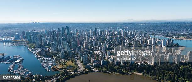 aerial image of vancouver, british columbia, canada - vancouver canada stock pictures, royalty-free photos & images
