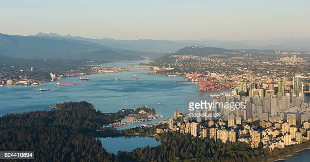 aerial image of vancouver, british columbia, canada - stanley park vancouver canada stock photos and pictures
