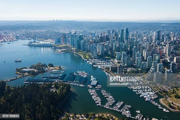 aerial image of vancouver, british columbia, canada - british columbia stock pictures, royalty-free photos & images