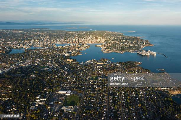 aerial image of victoria harbour, british columbia, canada - british columbia stock pictures, royalty-free photos & images