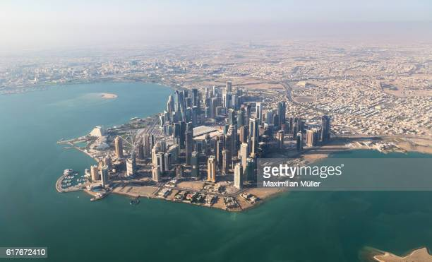 aerial image of west bay, doha, qatar - doha stock photos and pictures
