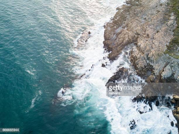 Aerial image over blue seas