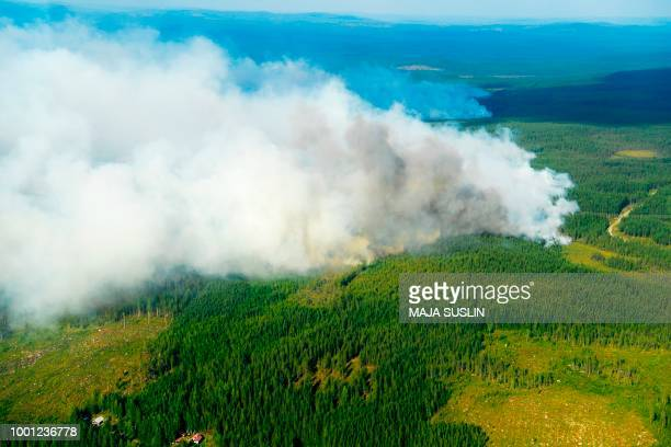 Aerial image shows the Forest fires burning near Ljusdal Sweden on July 18 2018 / Sweden OUT