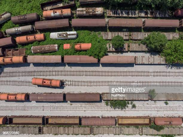 Aerial images from a drone from abandoned train wagons mostly freighters near Diavata in western Thessaloniki, Greece